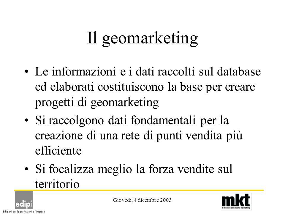 Giovedì, 4 dicembre 2003 Il geomarketing Le informazioni e i dati raccolti sul database ed elaborati costituiscono la base per creare progetti di geom