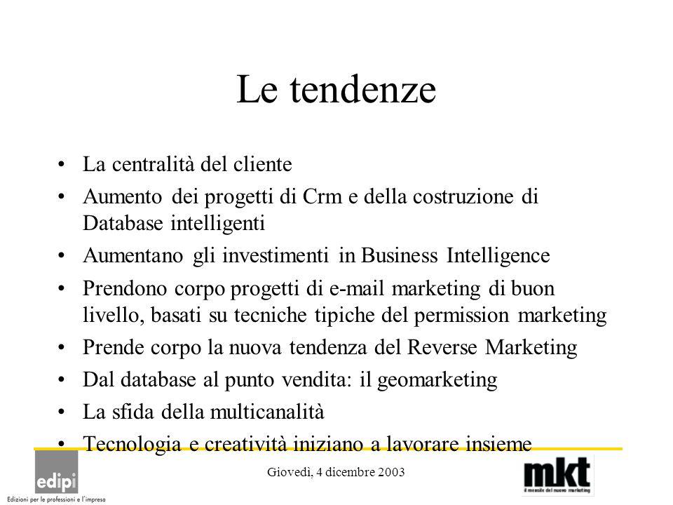 Giovedì, 4 dicembre 2003 Le tendenze La centralità del cliente Aumento dei progetti di Crm e della costruzione di Database intelligenti Aumentano gli