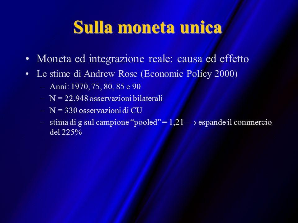 Sulla moneta unica Moneta ed integrazione reale: causa ed effetto Le stime di Andrew Rose (Economic Policy 2000) –Anni: 1970, 75, 80, 85 e 90 –N = 22.