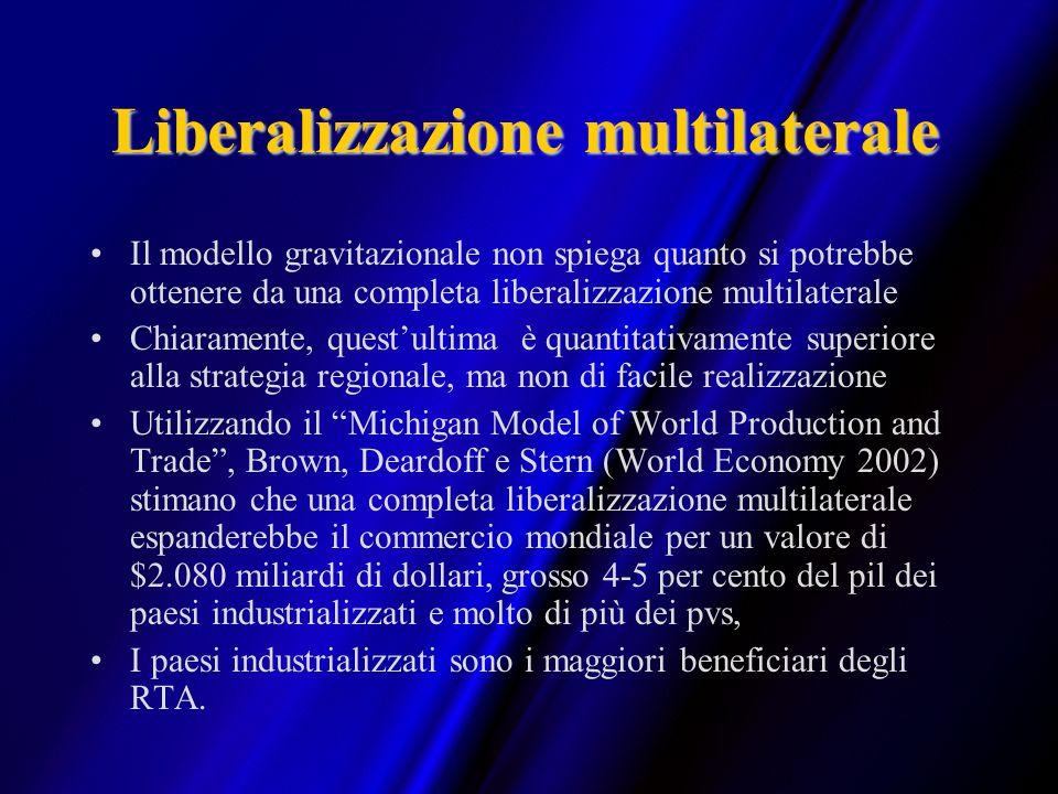 Liberalizzazione multilaterale Il modello gravitazionale non spiega quanto si potrebbe ottenere da una completa liberalizzazione multilaterale Chiaram