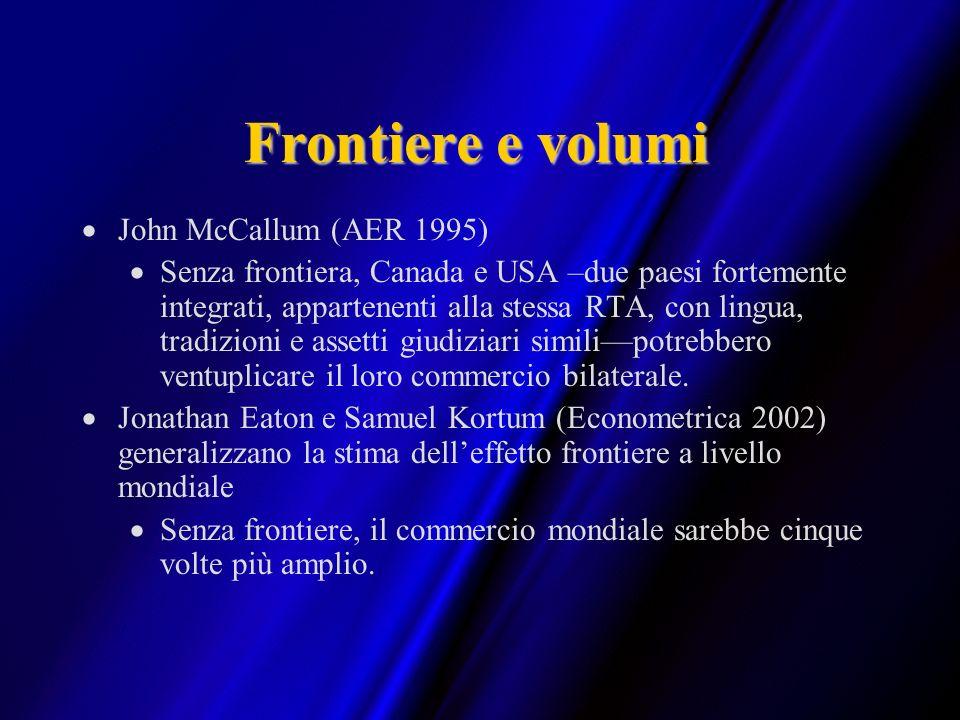 Frontiere e volumi John McCallum (AER 1995) Senza frontiera, Canada e USA –due paesi fortemente integrati, appartenenti alla stessa RTA, con lingua, t