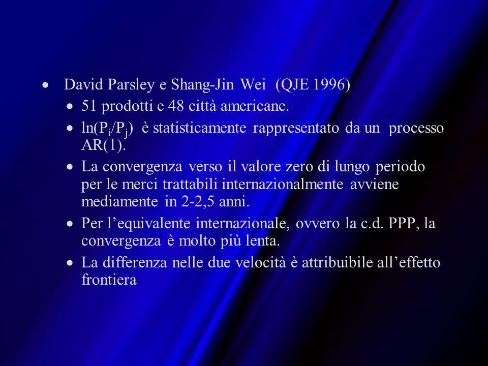 David Parsley e Shang-Jin Wei (QJE 1996) 51 prodotti e 48 città americane. ln(P i /P j ) è statisticamente rappresentato da un processo AR(1). La conv