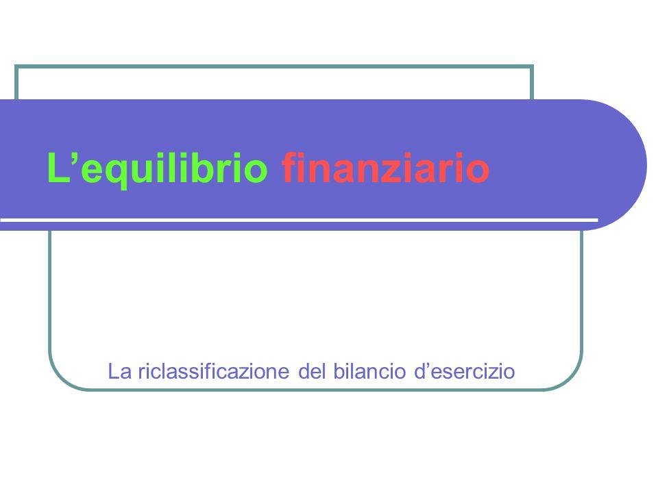 La riclassificazione del bilancio desercizio Lequilibrio finanziario