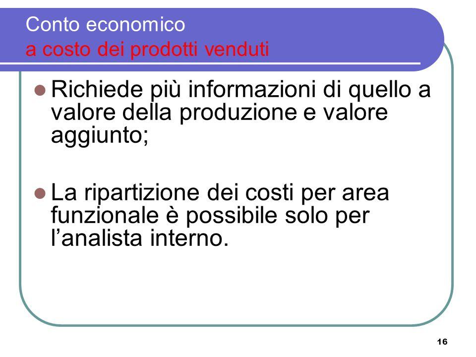 16 Conto economico a costo dei prodotti venduti Richiede più informazioni di quello a valore della produzione e valore aggiunto; La ripartizione dei costi per area funzionale è possibile solo per lanalista interno.