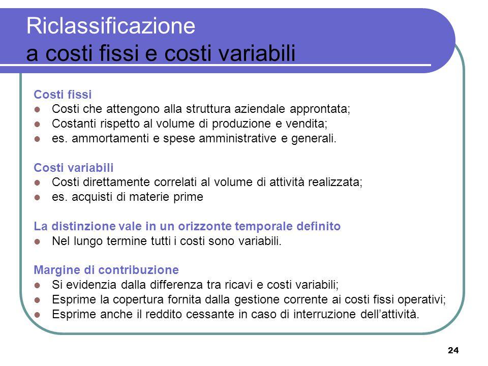 24 Riclassificazione a costi fissi e costi variabili Costi fissi Costi che attengono alla struttura aziendale approntata; Costanti rispetto al volume di produzione e vendita; es.