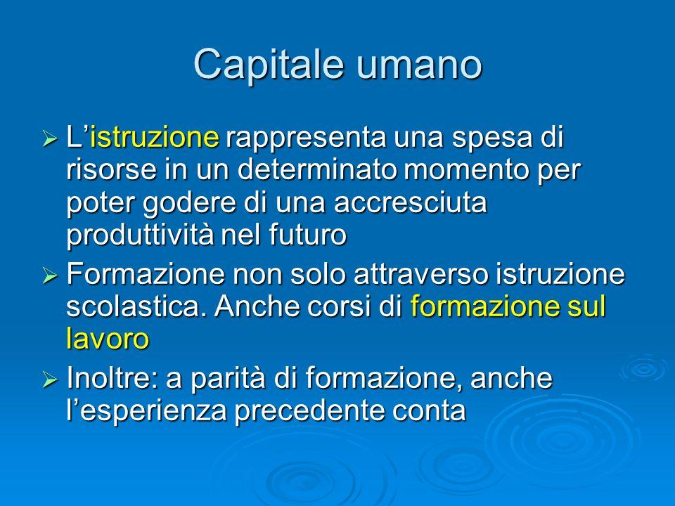Capitale umano Listruzione rappresenta una spesa di risorse in un determinato momento per poter godere di una accresciuta produttività nel futuro List