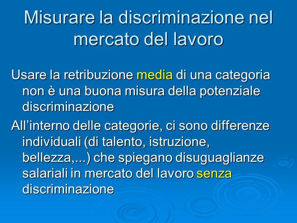 Misurare la discriminazione nel mercato del lavoro Usare la retribuzione media di una categoria non è una buona misura della potenziale discriminazion