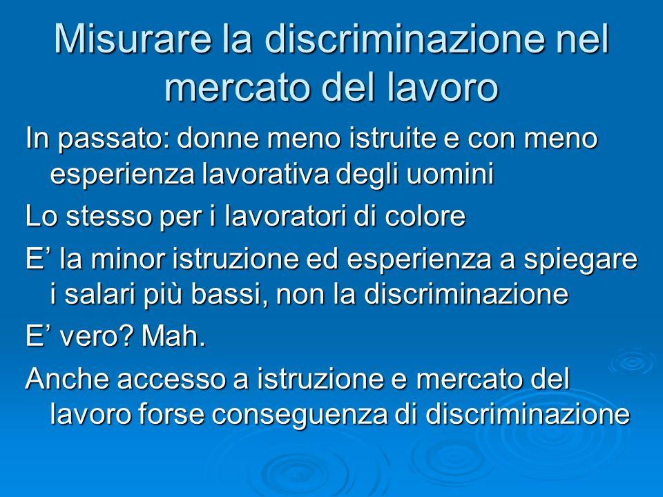 Misurare la discriminazione nel mercato del lavoro In passato: donne meno istruite e con meno esperienza lavorativa degli uomini Lo stesso per i lavor