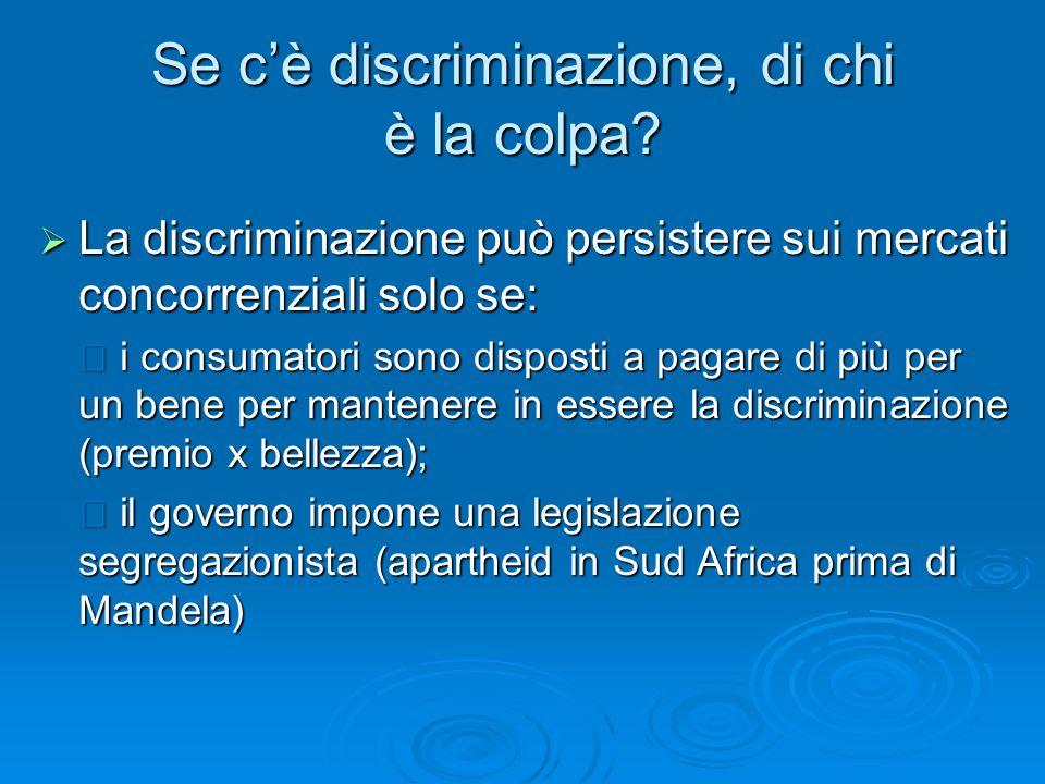 Se cè discriminazione, di chi è la colpa? La discriminazione può persistere sui mercati concorrenziali solo se: La discriminazione può persistere sui