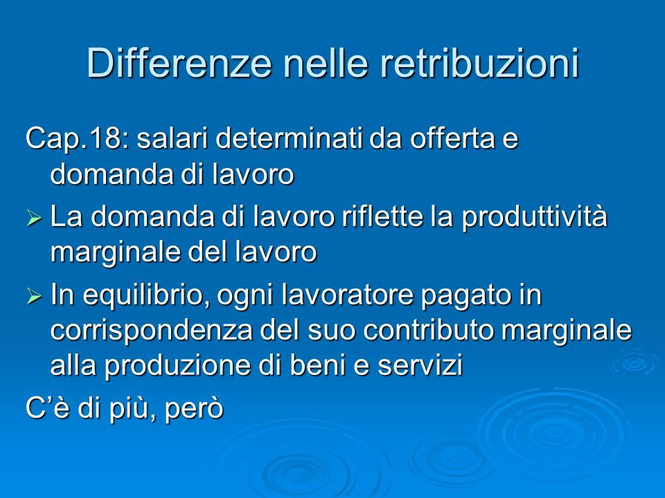 Differenze nelle retribuzioni Cap.18: salari determinati da offerta e domanda di lavoro La domanda di lavoro riflette la produttività marginale del la