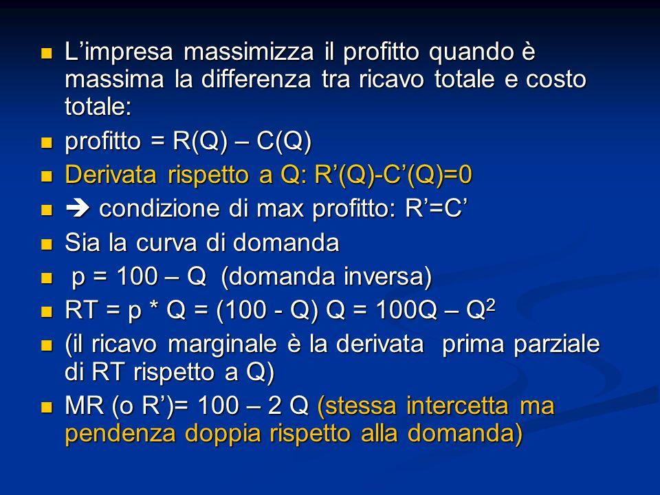 Limpresa massimizza il profitto quando è massima la differenza tra ricavo totale e costo totale: Limpresa massimizza il profitto quando è massima la d