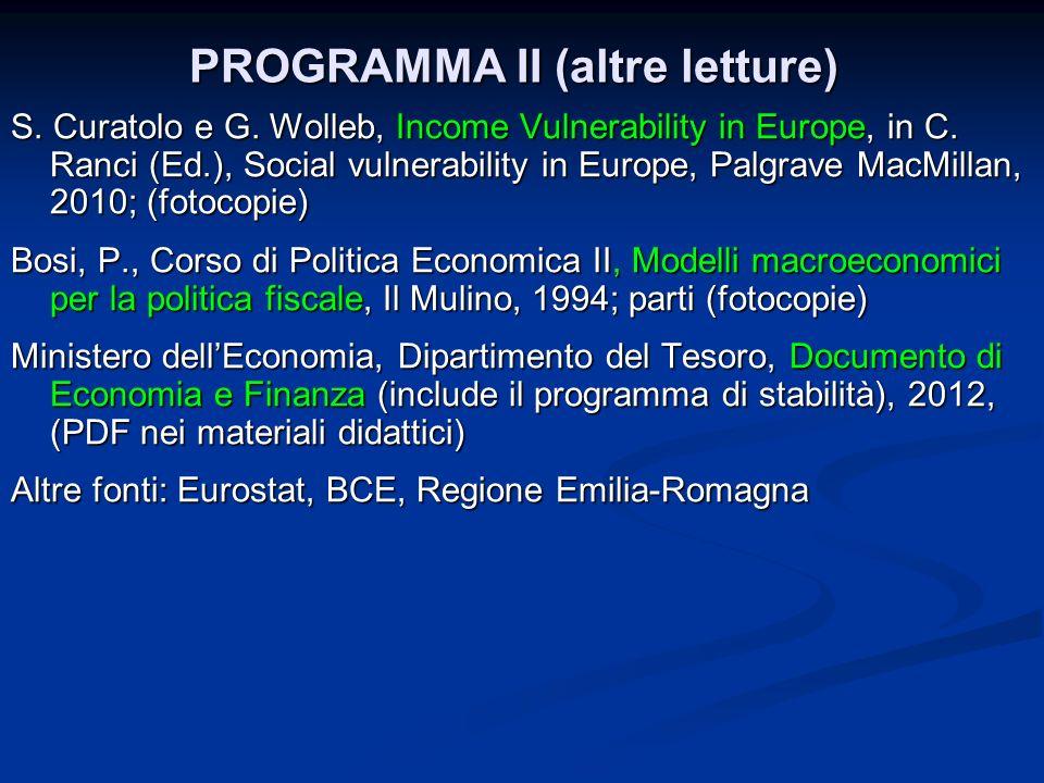 PROGRAMMA II (altre letture) S. Curatolo e G. Wolleb, Income Vulnerability in Europe, in C. Ranci (Ed.), Social vulnerability in Europe, Palgrave MacM