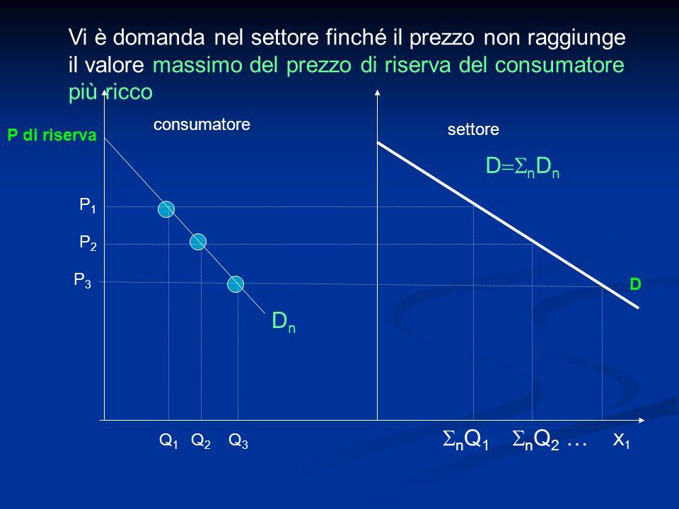 P1P1 P2P2 P3P3 P di riserva X 1 Q3Q3 Q2Q2 Q1Q1 consumatore settore n Q 1 n Q 2 … D Vi è domanda nel settore finché il prezzo non raggiunge il valore m