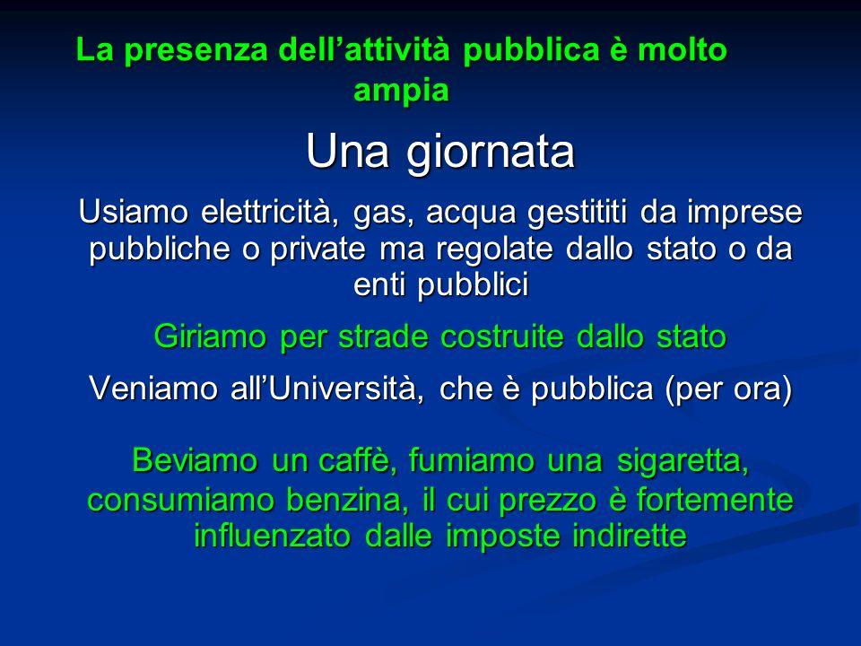 La presenza dellattività pubblica è molto ampia Una giornata Usiamo elettricità, gas, acqua gestititi da imprese pubbliche o private ma regolate dallo