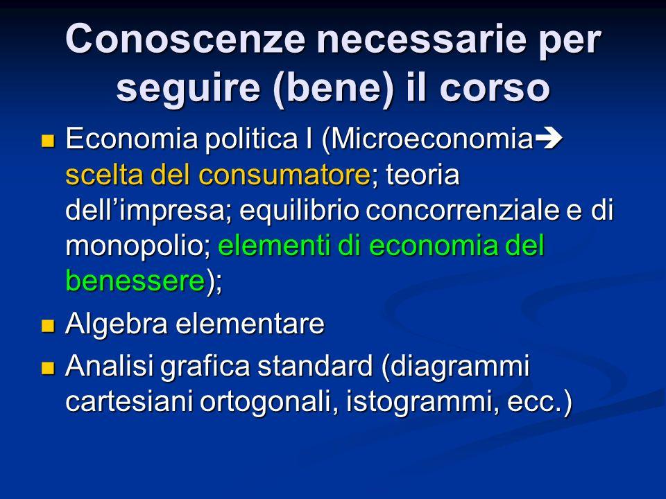 Conoscenze necessarie per seguire (bene) il corso Economia politica I (Microeconomia scelta del consumatore; teoria dellimpresa; equilibrio concorrenz