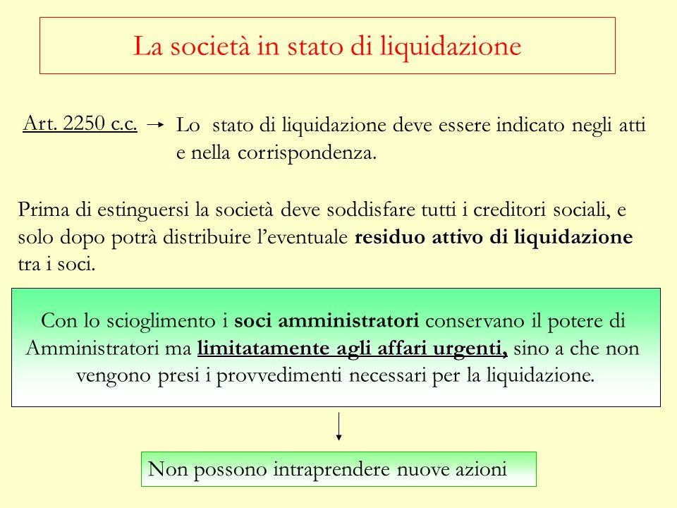 Prima di procedere alla distribuzione dellattivo i liquidatori devono: RESTITUIRE I BENI CONFERITI IN GODIMENTO Devono essere restituiti nello stato in cui si trovano.