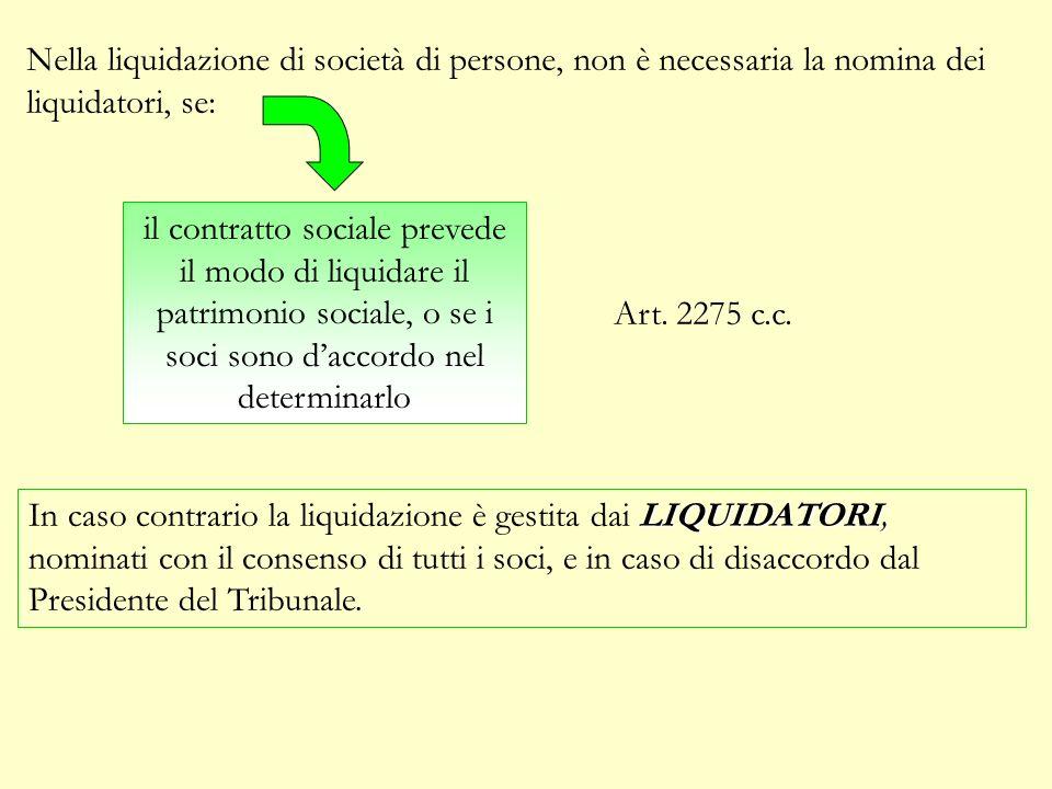 Nella liquidazione di società di persone, non è necessaria la nomina dei liquidatori, se: il contratto sociale prevede il modo di liquidare il patrimonio sociale, o se i soci sono daccordo nel determinarlo Art.