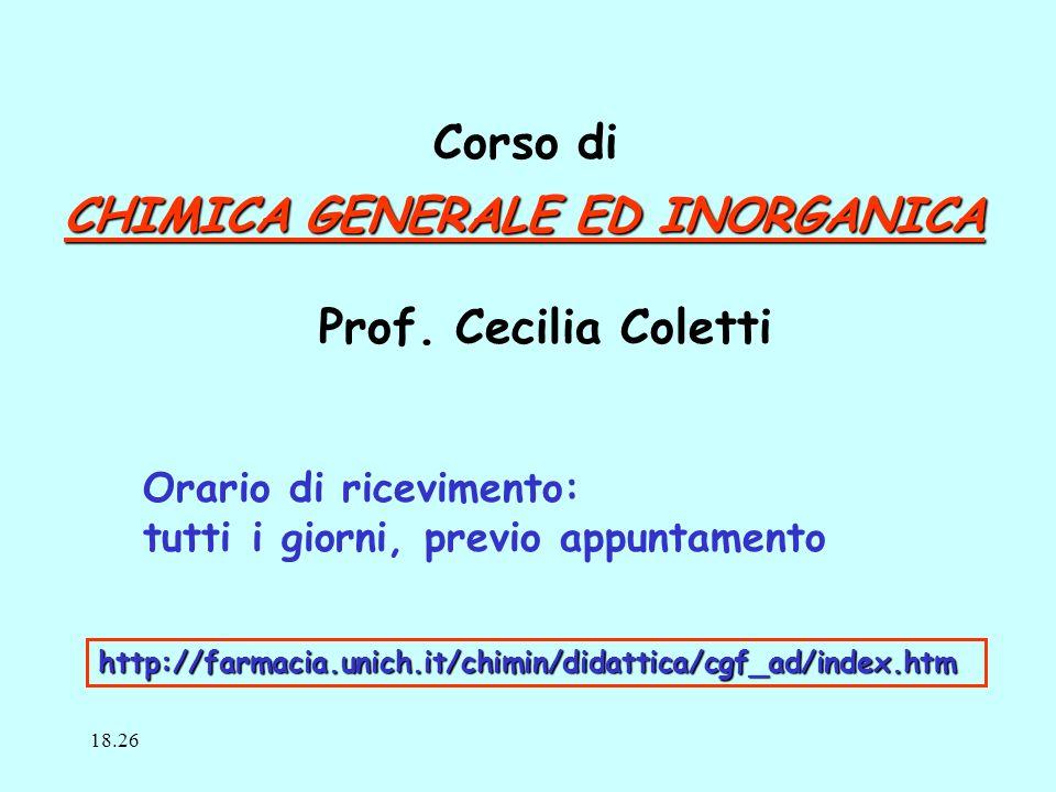 CHIMICA GENERALE ED INORGANICA Prof.
