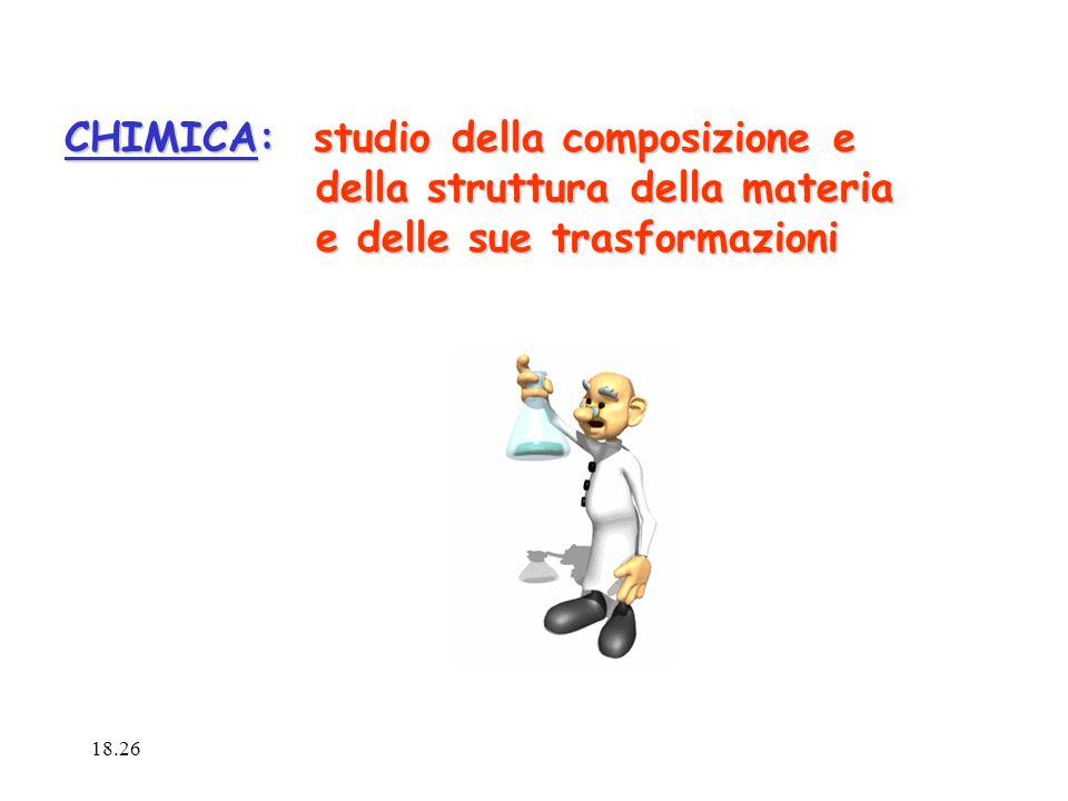 CHIMICA: studio della composizione e della struttura della materia della struttura della materia e delle sue trasformazioni e delle sue trasformazioni 18.28