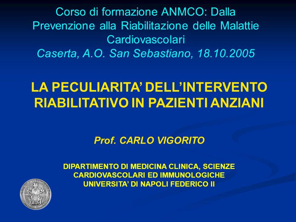 Corso di formazione ANMCO: Dalla Prevenzione alla Riabilitazione delle Malattie Cardiovascolari Caserta, A.O. San Sebastiano, 18.10.2005 LA PECULIARIT
