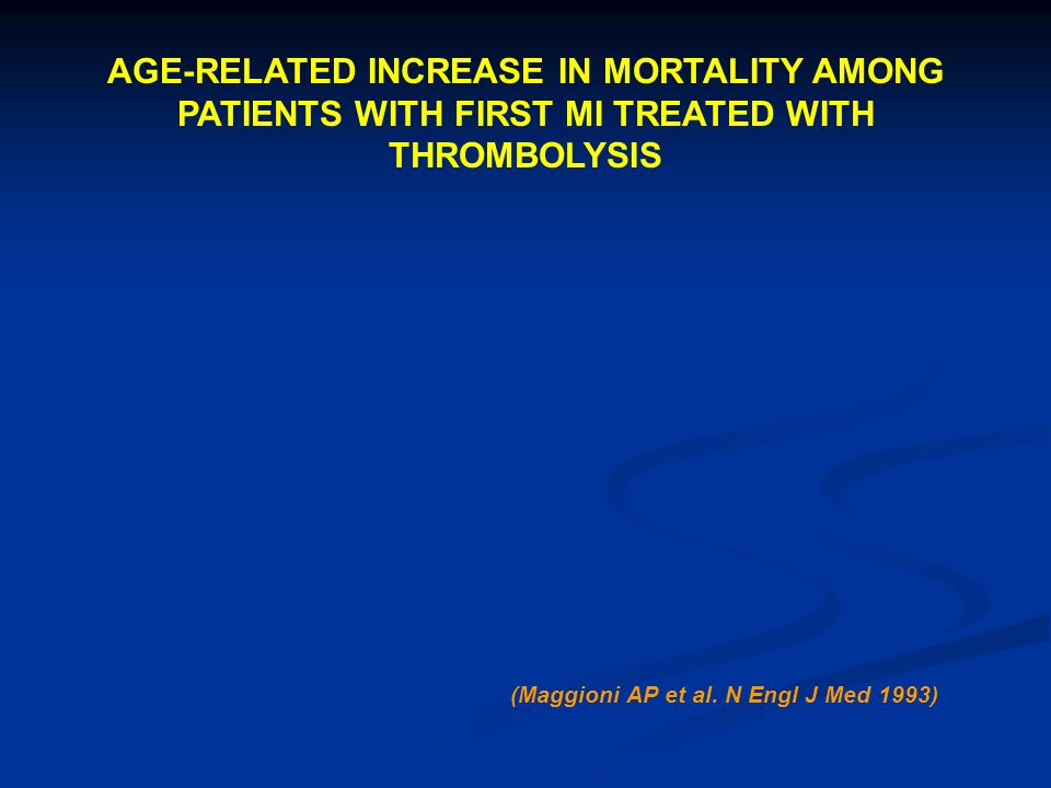 AGE-RELATED INCREASE IN MORTALITY AMONG PATIENTS WITH FIRST MI TREATED WITH THROMBOLYSIS (Maggioni AP et al.