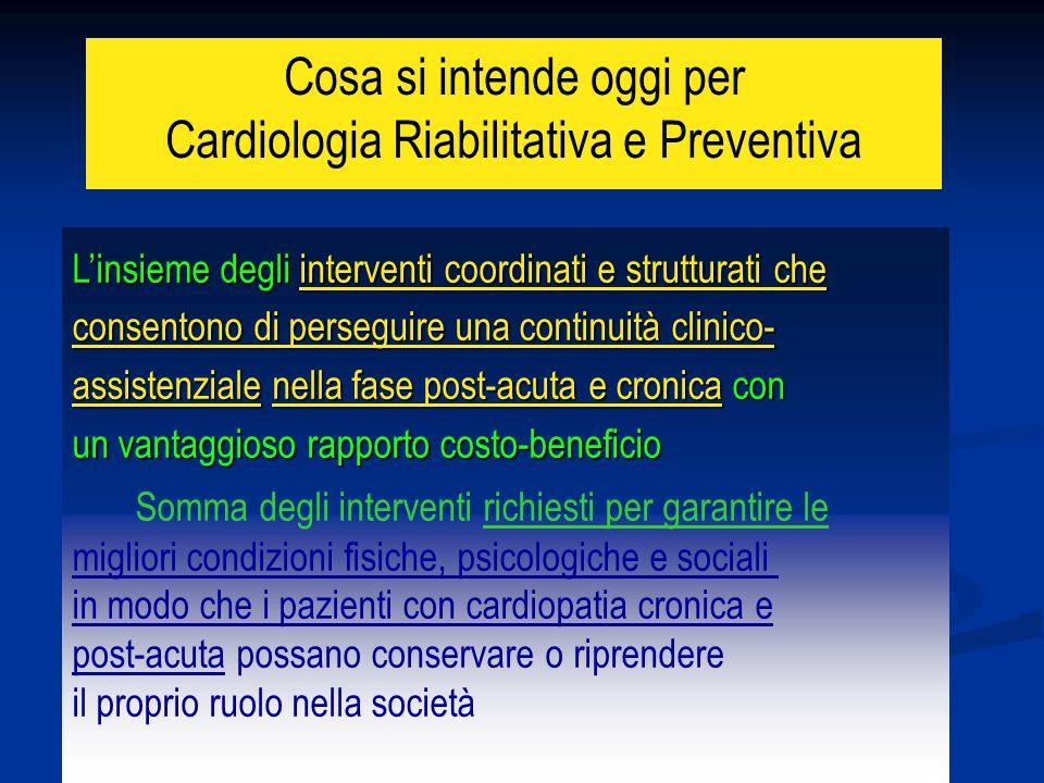 Cosa si intende oggi per Cardiologia Riabilitativa e Preventiva Linsieme degli interventi coordinati e strutturati che consentono di perseguire una co