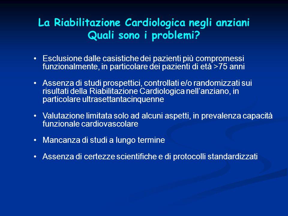 La Riabilitazione Cardiologica negli anziani Quali sono i problemi? Esclusione dalle casistiche dei pazienti più compromessi funzionalmente, in partic