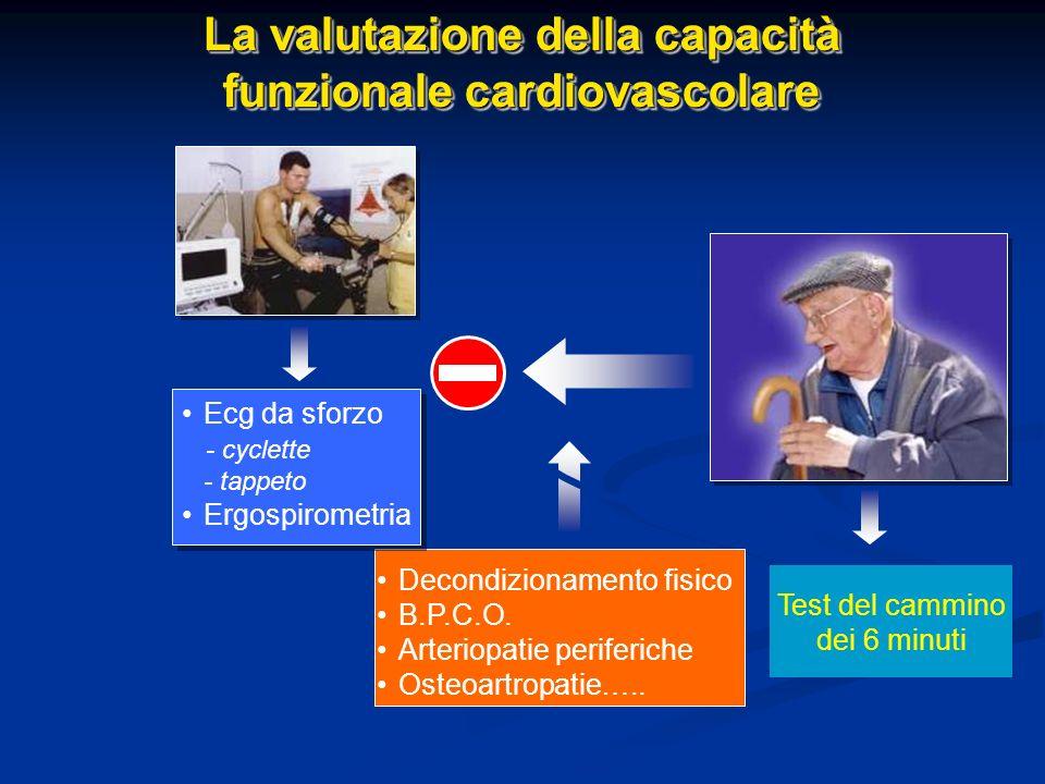 La valutazione della capacità funzionale cardiovascolare La valutazione della capacità funzionale cardiovascolare Decondizionamento fisico B.P.C.O. Ar