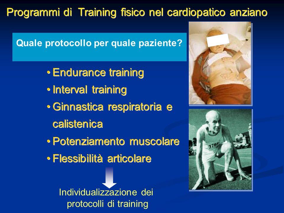 Programmi di Training fisico nel cardiopatico anziano Endurance training Interval training Ginnastica respiratoria e calistenica Potenziamento muscola