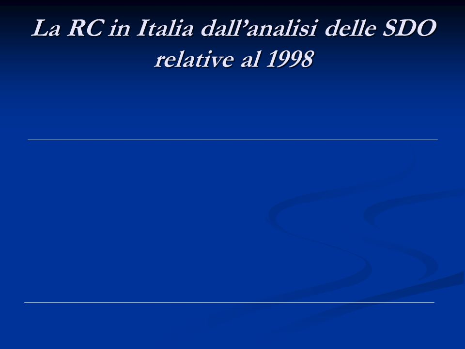 La RC in Italia dallanalisi delle SDO relative al 1998