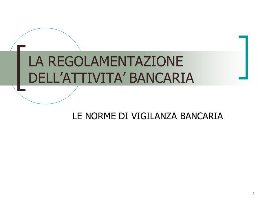1 LA REGOLAMENTAZIONE DELLATTIVITA BANCARIA LE NORME DI VIGILANZA BANCARIA