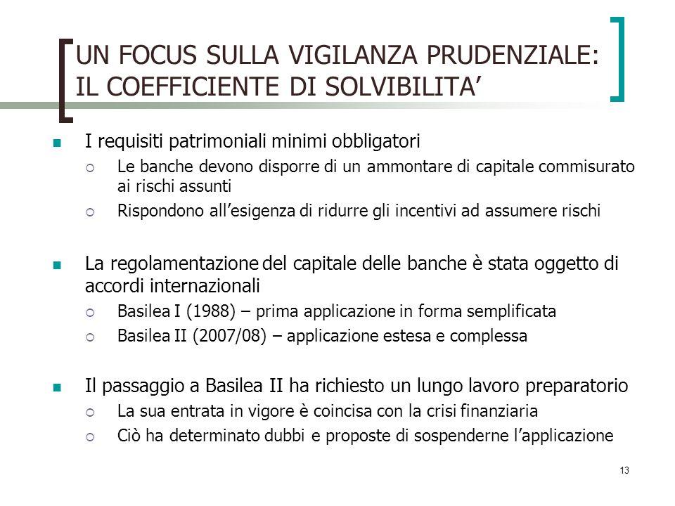 13 UN FOCUS SULLA VIGILANZA PRUDENZIALE: IL COEFFICIENTE DI SOLVIBILITA I requisiti patrimoniali minimi obbligatori Le banche devono disporre di un ammontare di capitale commisurato ai rischi assunti Rispondono allesigenza di ridurre gli incentivi ad assumere rischi La regolamentazione del capitale delle banche è stata oggetto di accordi internazionali Basilea I (1988) – prima applicazione in forma semplificata Basilea II (2007/08) – applicazione estesa e complessa Il passaggio a Basilea II ha richiesto un lungo lavoro preparatorio La sua entrata in vigore è coincisa con la crisi finanziaria Ciò ha determinato dubbi e proposte di sospenderne lapplicazione