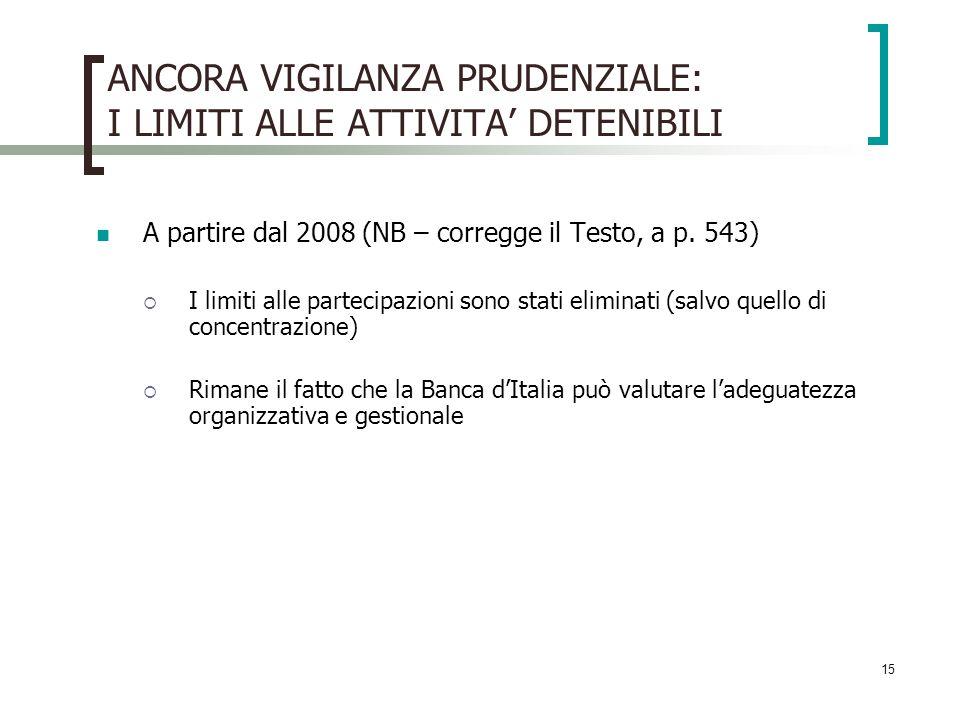 15 ANCORA VIGILANZA PRUDENZIALE: I LIMITI ALLE ATTIVITA DETENIBILI A partire dal 2008 (NB – corregge il Testo, a p.