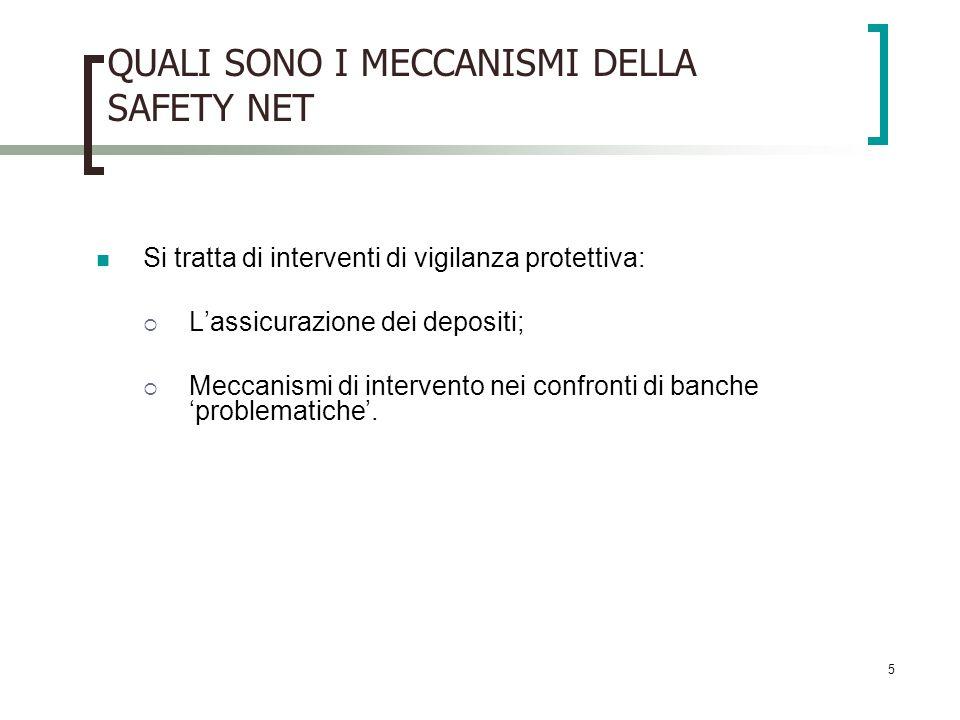 5 QUALI SONO I MECCANISMI DELLA SAFETY NET Si tratta di interventi di vigilanza protettiva: Lassicurazione dei depositi; Meccanismi di intervento nei confronti di banche problematiche.
