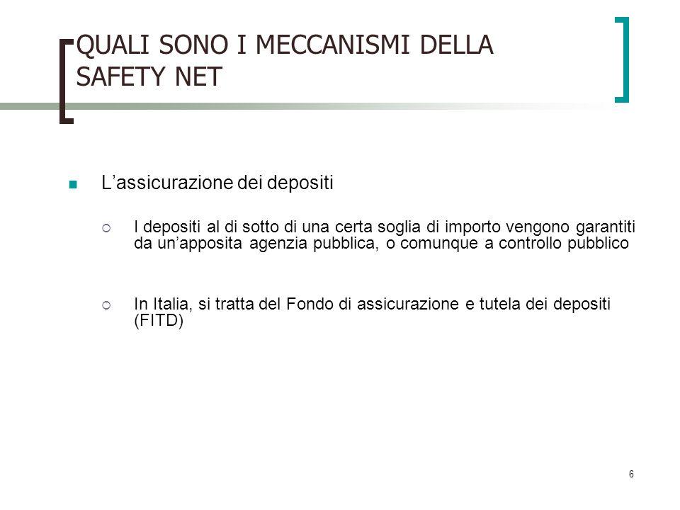 6 QUALI SONO I MECCANISMI DELLA SAFETY NET Lassicurazione dei depositi I depositi al di sotto di una certa soglia di importo vengono garantiti da unapposita agenzia pubblica, o comunque a controllo pubblico In Italia, si tratta del Fondo di assicurazione e tutela dei depositi (FITD)