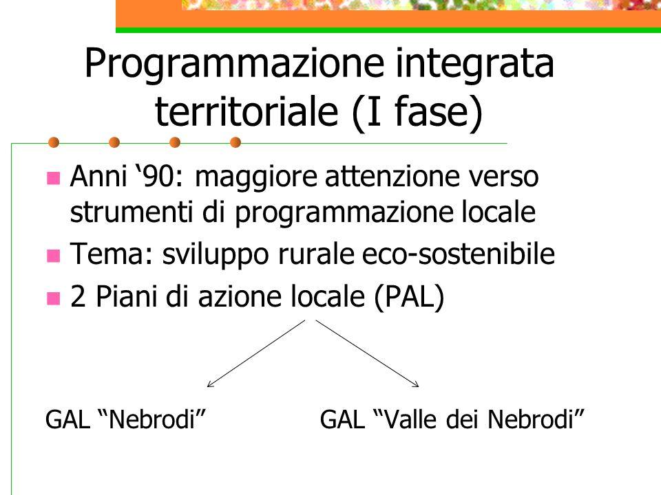 Programmazione integrata territoriale (I fase) Anni 90: maggiore attenzione verso strumenti di programmazione locale Tema: sviluppo rurale eco-sosteni