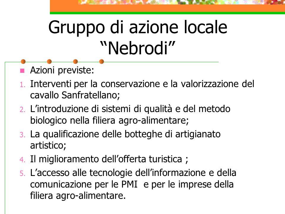 Gruppo di azione locale Nebrodi Azioni previste: 1. Interventi per la conservazione e la valorizzazione del cavallo Sanfratellano; 2. Lintroduzione di
