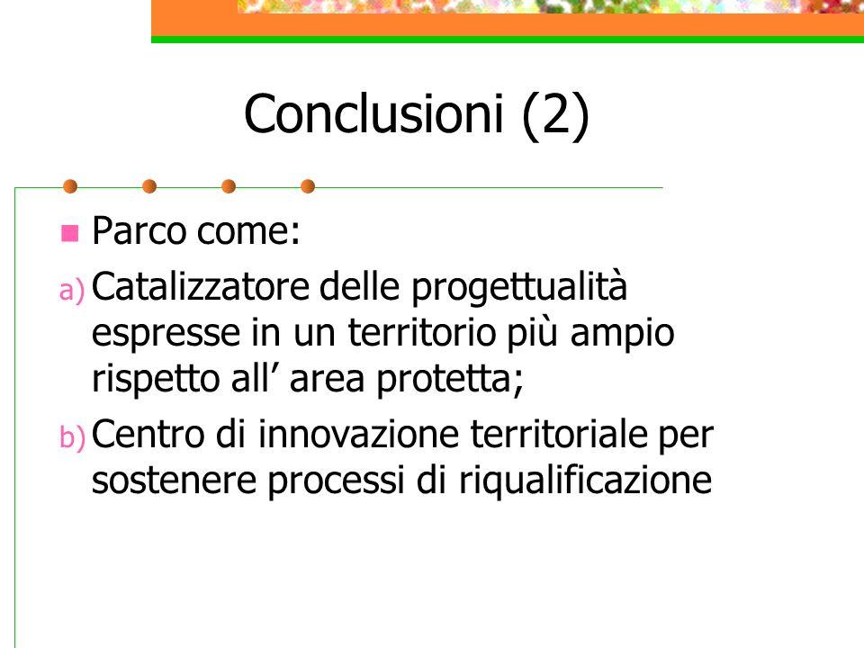 Conclusioni (2) Parco come: a) Catalizzatore delle progettualità espresse in un territorio più ampio rispetto all area protetta; b) Centro di innovazi