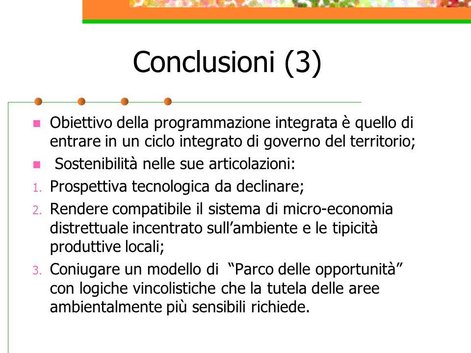 Conclusioni (3) Obiettivo della programmazione integrata è quello di entrare in un ciclo integrato di governo del territorio; Sostenibilità nelle sue