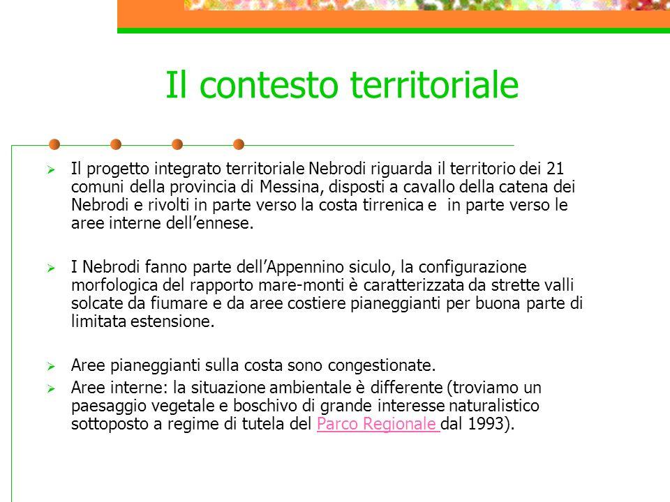 Il progetto integrato territoriale Nebrodi riguarda il territorio dei 21 comuni della provincia di Messina, disposti a cavallo della catena dei Nebrod