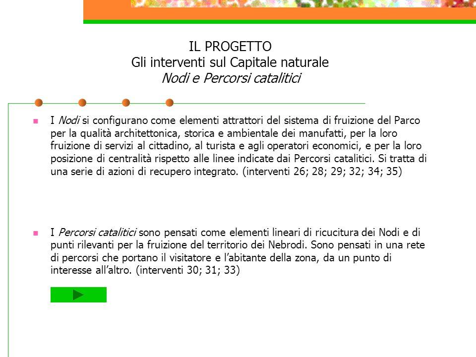 IL PROGETTO Gli interventi sul Capitale naturale Nodi e Percorsi catalitici I Nodi si configurano come elementi attrattori del sistema di fruizione de