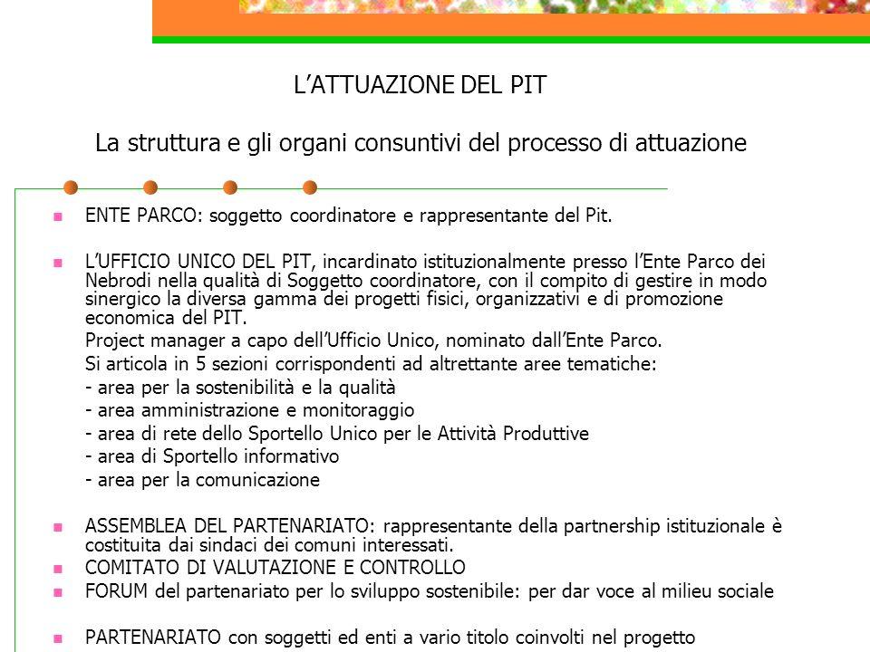 LATTUAZIONE DEL PIT La struttura e gli organi consuntivi del processo di attuazione ENTE PARCO: soggetto coordinatore e rappresentante del Pit. LUFFIC