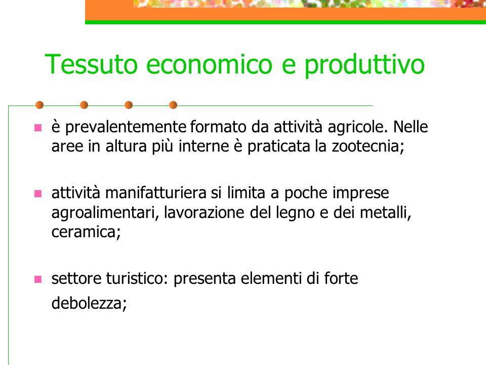 Tessuto economico e produttivo è prevalentemente formato da attività agricole. Nelle aree in altura più interne è praticata la zootecnia; attività man