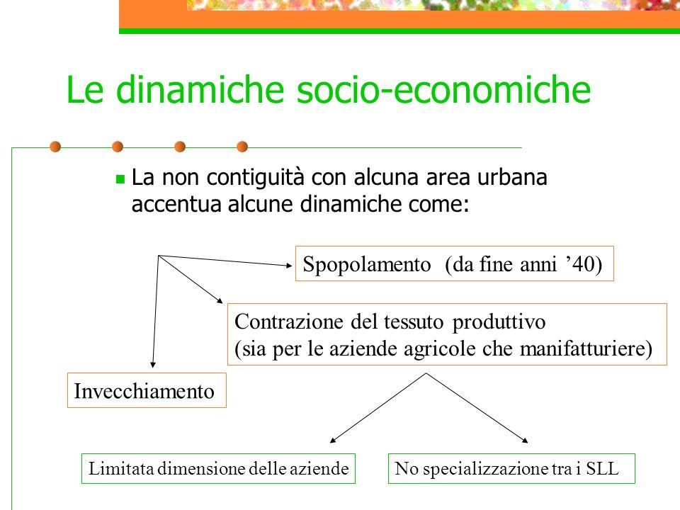 Le dinamiche socio-economiche La non contiguità con alcuna area urbana accentua alcune dinamiche come: Spopolamento (da fine anni 40) Contrazione del