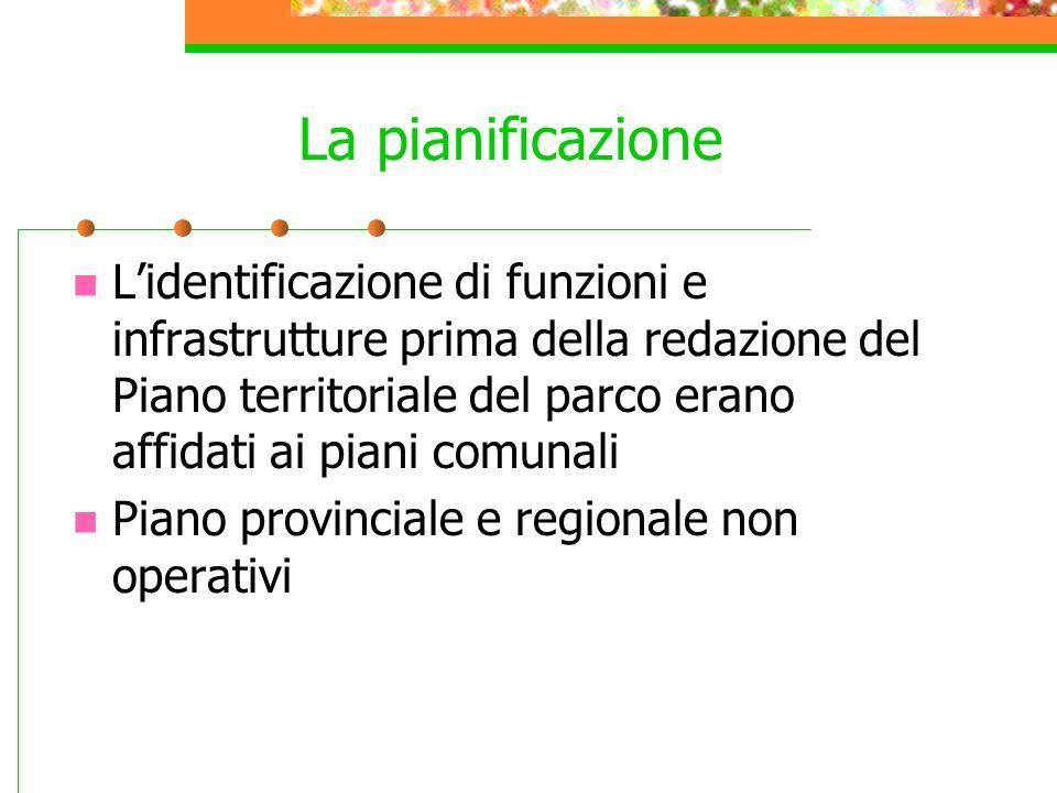 La pianificazione Lidentificazione di funzioni e infrastrutture prima della redazione del Piano territoriale del parco erano affidati ai piani comunal