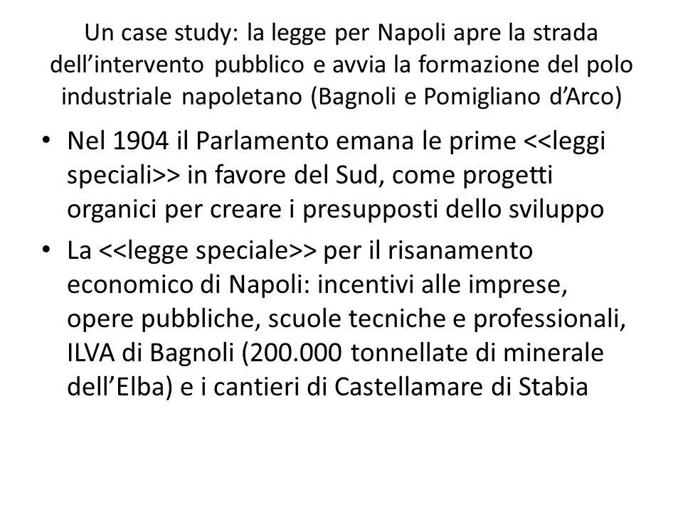 Un case study: la legge per Napoli apre la strada dellintervento pubblico e avvia la formazione del polo industriale napoletano (Bagnoli e Pomigliano