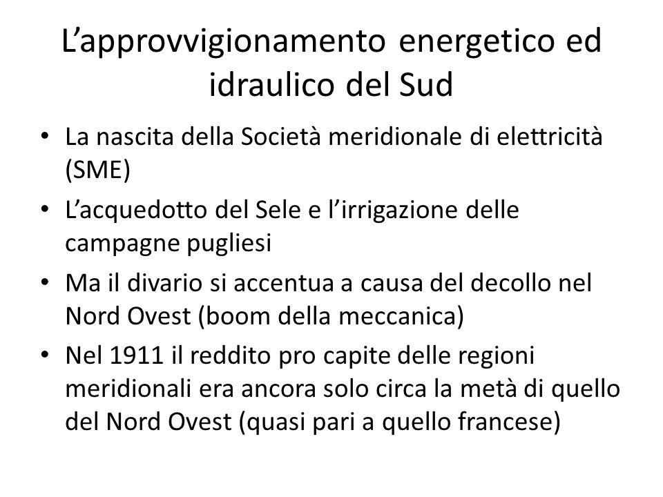 Lapprovvigionamento energetico ed idraulico del Sud La nascita della Società meridionale di elettricità (SME) Lacquedotto del Sele e lirrigazione dell