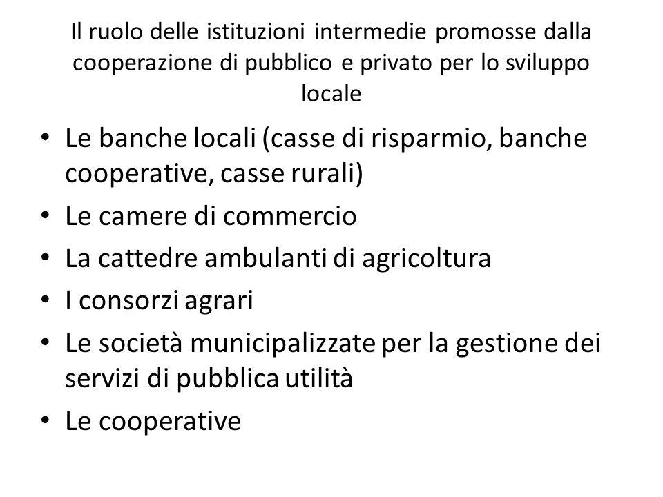 Il ruolo delle istituzioni intermedie promosse dalla cooperazione di pubblico e privato per lo sviluppo locale Le banche locali (casse di risparmio, b
