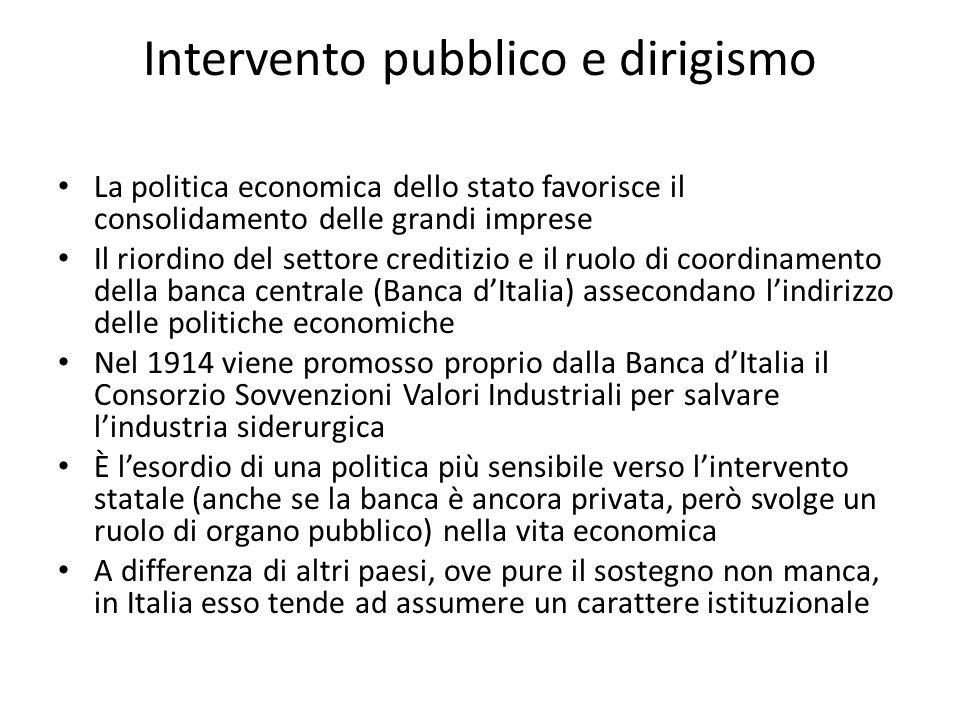 Intervento pubblico e dirigismo La politica economica dello stato favorisce il consolidamento delle grandi imprese Il riordino del settore creditizio