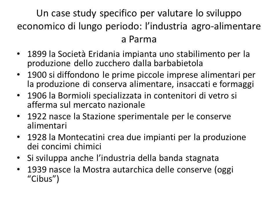 Un case study specifico per valutare lo sviluppo economico di lungo periodo: lindustria agro-alimentare a Parma 1899 la Società Eridania impianta uno